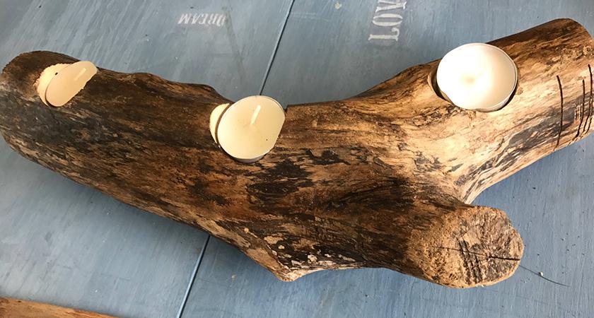 Passo a passo: faça um porta-velas com tronco de madeira