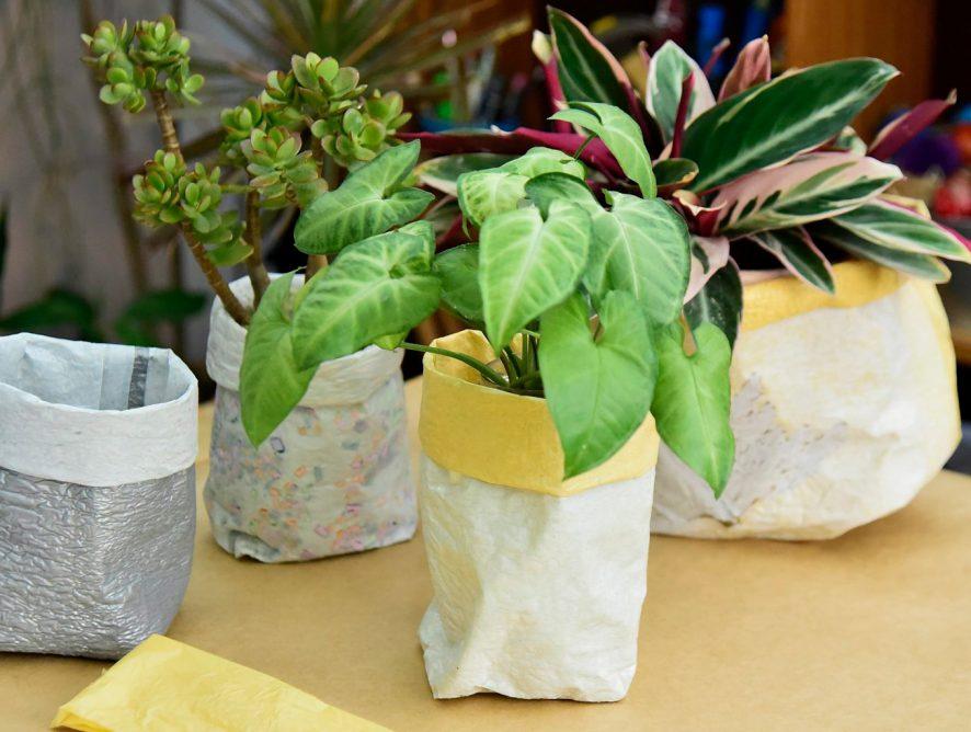 Passo a passo: como fazer cachepô de sacola plástica