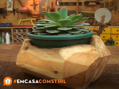 Aprenda como fazer um cachepot de madeira